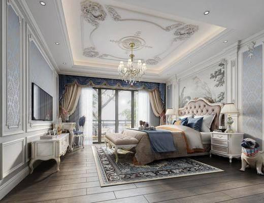 双人床, 背景墙, 吊灯, 电视柜, 床头柜, 窗帘