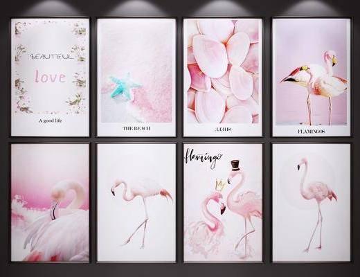 粉色装饰画, 挂画, 火烈鸟装饰画, 艺术画, 装饰画