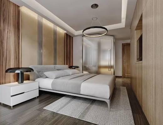 现代, 简约, 卧室, 双人床, 床具, 床头柜, 台灯, 吊灯, 浴室