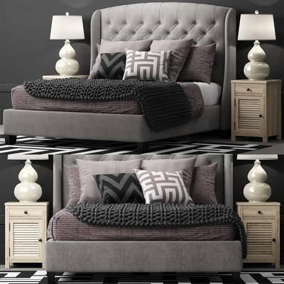 双人床, 床头柜, 地毯, 台灯, 现代, 床, 床具组合