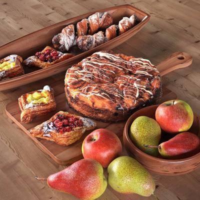 食物, 水果, 蛋糕, 盘子, 砧板, 现代