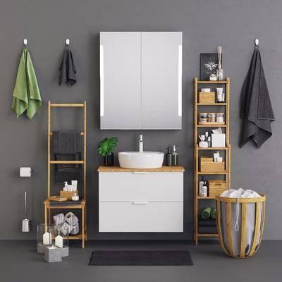 现代, 浴室柜, 洗手台, 组合