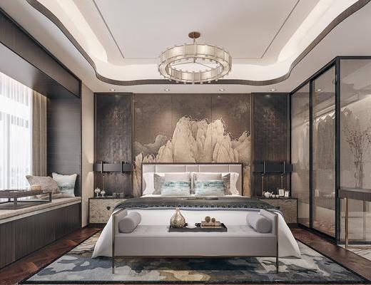 双人床, 床具组合, 背景墙, 吊灯, 床头柜, 台灯