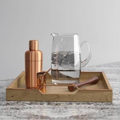 调酒瓶, 端盘, 水杯, 现代