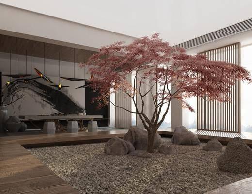 庭院, 植物, 石凳, 桌椅組合