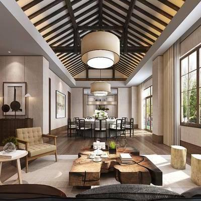 餐厅, 餐桌, 餐椅, 摆件, 装饰画, 单人椅, 挂画, 凳子, 茶几, 边柜, 现代, 吊灯