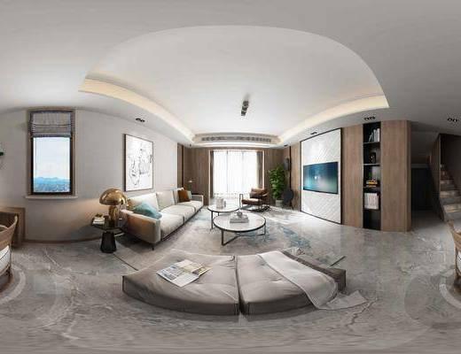 现代, 客厅, 沙发, 多人沙发, 茶几, 边几, 台灯, 挂画
