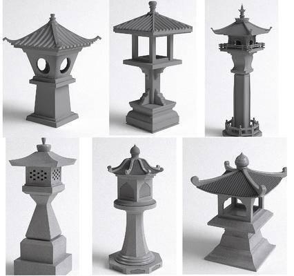 户外灯, 中式石灯石材地灯3d模型