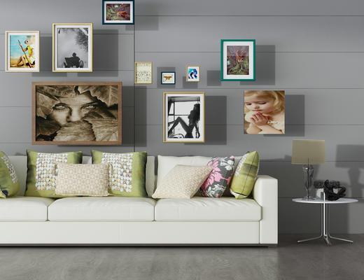 客厅, 挂画, 边几, 装饰品