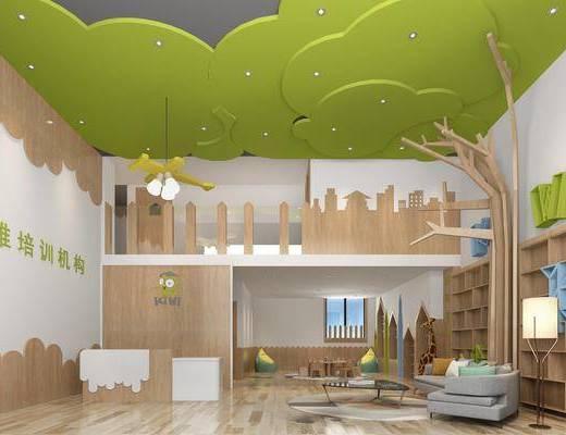 幼儿园, 多人沙发, 圆弧沙发, 落地灯, 前台, 桌椅组合, 现代