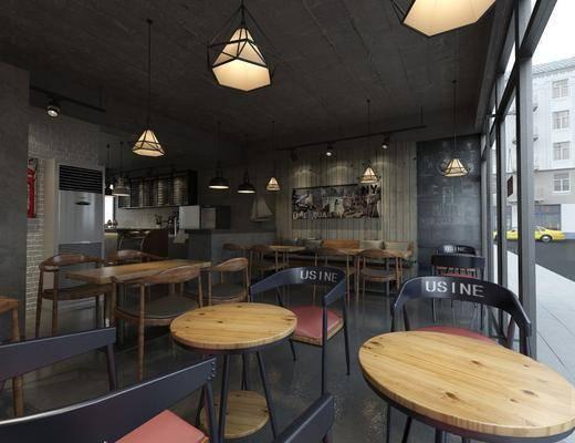 餐厅, 餐桌, 餐椅, 单人椅, 卡座, 吊灯, 装饰画, 挂画, 工业风