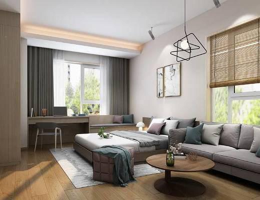 现代卧室, 双人床, 沙发, 边几