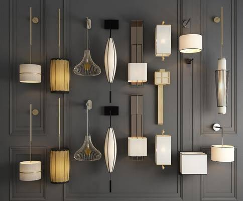 壁灯组合, 木质壁灯, 灯笼壁灯, 铁艺壁灯, 金属壁灯, 新中式