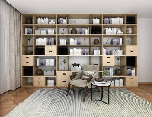 装饰柜, 柜架组合, 书柜, 书籍, 单椅, 边几