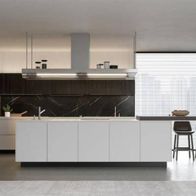 厨房, 橱柜, 餐桌椅, 摆件