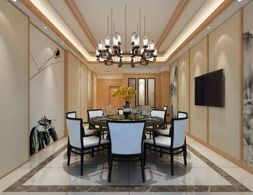 新中式, 包厢, 中式, 吊顶, 餐桌