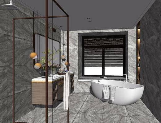洗手台, 镜子, 花洒, 浴缸