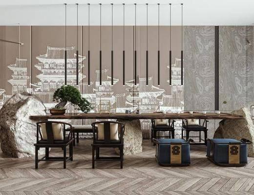 茶桌, 单椅, 矮凳, 盆栽, 吊灯, 壁灯