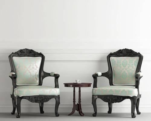 单人椅, 茶几, 欧式