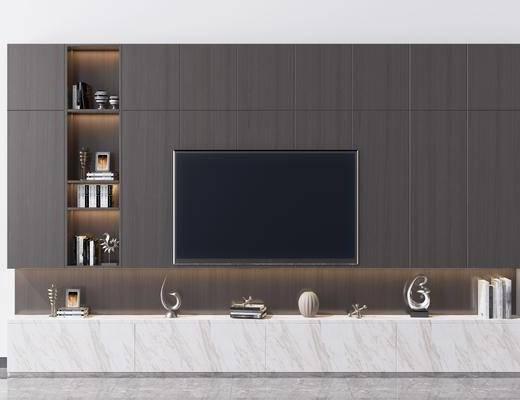 电视柜, 电视背景墙, 现代电视背景墙, 摆件组合