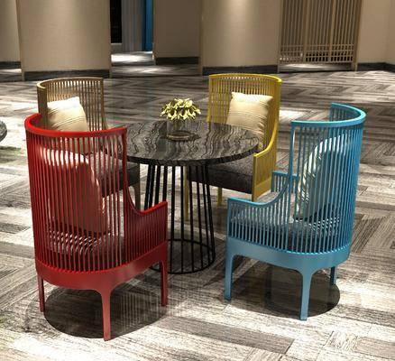 餐桌, 餐椅, 圆桌, 单人椅, 新中式