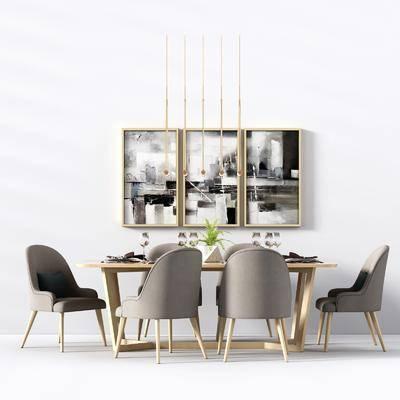 桌椅组合, 北欧餐桌椅组合, 餐桌, 单椅, 椅子, 装饰画, 餐具, 吊灯, 挂画, 北欧