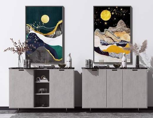 矮柜, 端景柜, 摆件组合, 装饰画