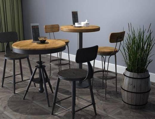 咖啡桌, 桌椅组合, 盆栽, 绿植植物, 工业风