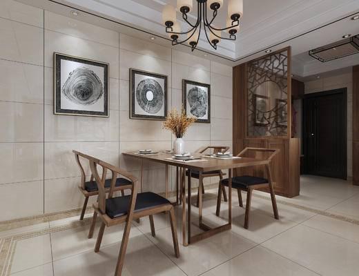 中式餐厅, 餐厅, 新中式, 中式, 餐桌椅, 桌子, 椅子, 单椅, 休闲椅, 装饰画, 挂画, 隔断, 吊灯