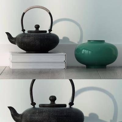 茶壶, 陶书罐组合, 陶瓷器皿, 现代