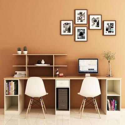 现代, 电脑桌, 椅子, 书本, 挂画, 饰品