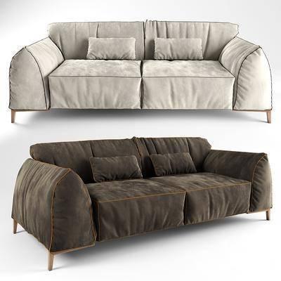 双人沙发, 沙发, 抱枕, 现代