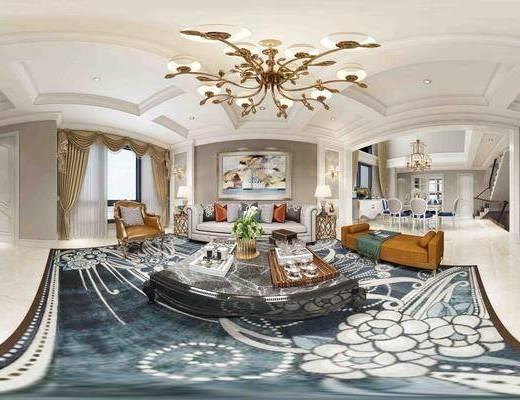 客厅, 全景, 沙发, 茶几, 摆件, 灯具, 欧式