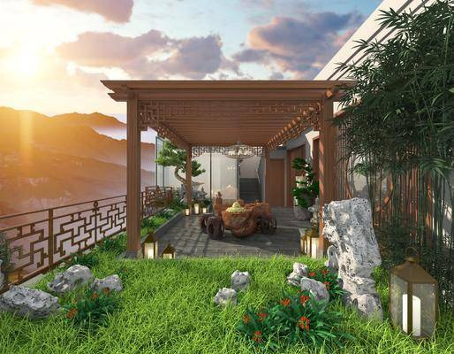 观景树, 根雕, 茶几, 庭院, 天台, 花园