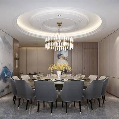 新中式包厢, 包厢, 餐厅, 壁灯, 椅子, 吊灯, 花瓶