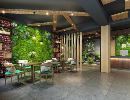 酒店, 植物墙, 绿植墙, 现代餐厅, 餐桌椅, 桌椅组合