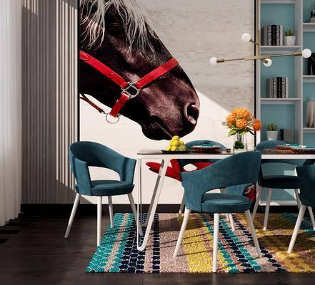 现代餐厅, 现代桌椅, 现代餐桌, 现代餐椅, 现代书柜, 花瓶花卉, 餐具, 食物, 吊灯, 动物画, 书籍, 现代