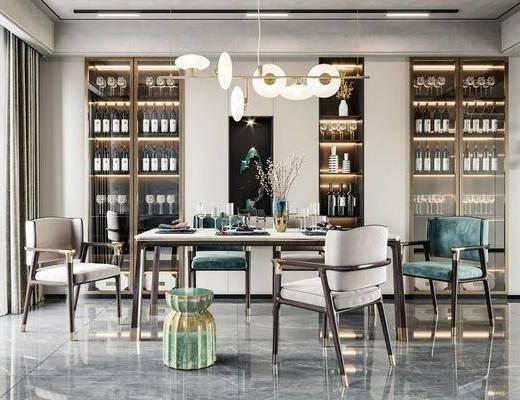 餐桌, 桌椅组合, 吊灯, 酒柜, 餐具组合