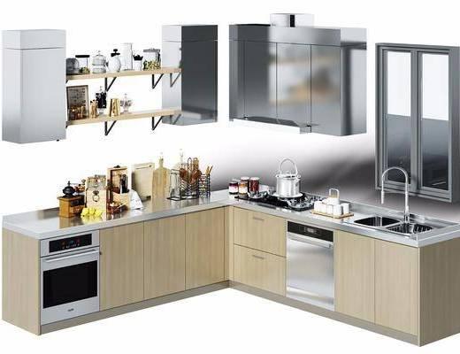 厨房, 橱柜, 转角橱柜, 器皿, 餐具, 厨具, 摆件, 食物, 现代, 置物架, 抽油烟机