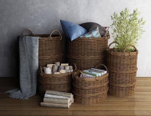 编织品, 竹筐, 东南亚竹筐, 摆件组合, 东南亚