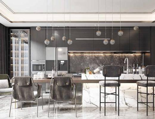 餐桌, 桌椅组合, 橱柜组合, 吊灯, 单椅