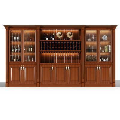 酒柜, 装饰柜, 摆件, 欧式