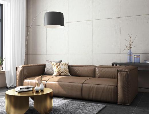 现代, 休闲沙发, 茶台, 灯具