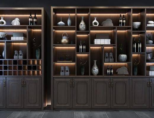 酒柜組合, 裝飾柜組合, 擺件組合, 新中式