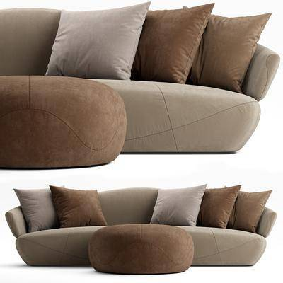 沙发凳, 多人沙发, 脚踏沙发, 抱枕, 现代