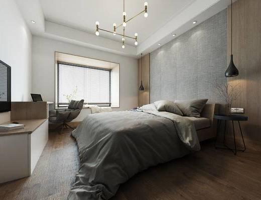 卧室, 现代卧室, 轻奢卧室, 双人床, 灯具, 休闲椅, 电视柜