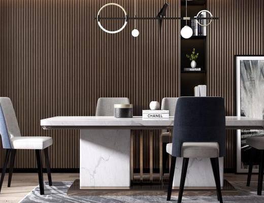 桌椅组合, 吊灯, 装饰柜, 装饰画