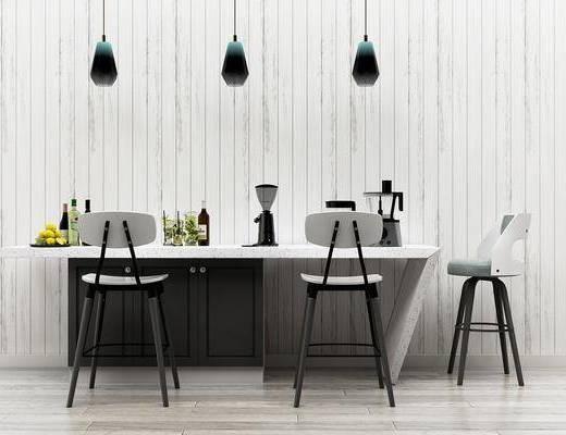 餐桌, 桌椅组合, 摆件, 吧椅, 吊灯