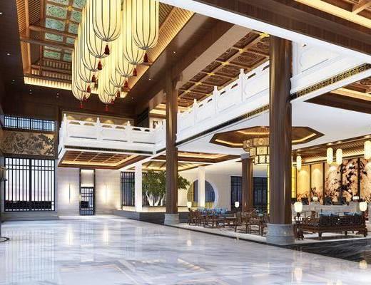 大堂大厅, 多人沙发, 单人椅, 全景, 吊灯, 树木, 绿植植物, 前台, 中式