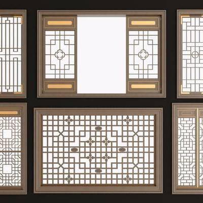 实木花格, 镂花雕花, 窗, 新中式